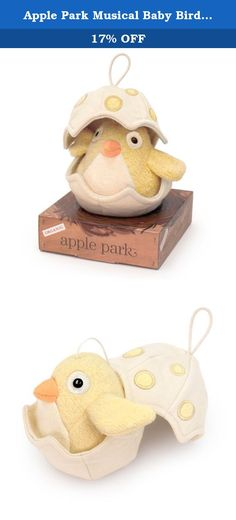 Apple Park Musical Baby Bird, Yellow. Listen closely -- Apple Park's blue Musical Baby Bird (Yellow) has just hatched and is singing its first sweet song. Pull the top of the eggshell, and the pretty tune will start to play. As the music plays, the eggshell slowly closes, and the baby bird goes to sleep. The adorable soft-stuffed baby bird and the attached eggshell are made of 100% organic cotton, with hand-stitched details. All Apple Park Products are safe for babies, made with 100%…