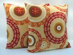 Two Swavelle/Mill Creek Indoor/Outdoor medallion pillow covers, cushion, 18x18, decorative throw pillow, decorative pillow, home decor