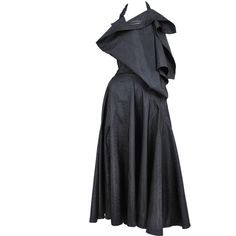 Pre-owned Comme des Garcons Asymmetrical Halter Dress ($1,800) ❤ liked on Polyvore featuring dresses, aesthetic day dresses, day dresses, halter neck dress, halter asymmetrical dress, open-back dresses, long dresses and vintage long dresses