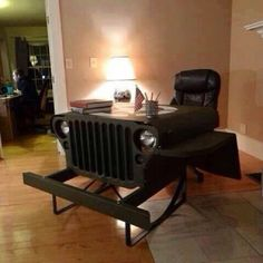 This Jeep Willys MB desk has a real grille, headlamps, blackout lamps and dash plaque. Car Part Furniture, Automotive Furniture, Automotive Decor, Furniture Plans, Kids Furniture, Handmade Furniture, Furniture Chairs, Recycled Furniture, Furniture Design