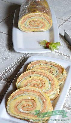 Rulada de omleta cu cascaval Appetizer Recipes, Appetizers, Romanian Food, Doughnuts, Good Food, Pizza, Cookies, Breakfast, Desserts