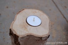 DIY – How to Make a Set of Tree Stump Candle Holders for the Holidays via Cozy Tree Stump Decor, Tree Stump Table, Tree Table, Tree Stumps, How To Make Tea, Decorative Items, Tea Lights, Diy Projects, Project Ideas