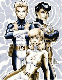 The Legion of Superheroes founding Members - Lightning Lad, Cosmic Boy and Saturn Girl art by Jeff Moy