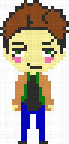 Dean Winchester Supernatural perler bead pattern.  Next to do in my perler bead projects!~