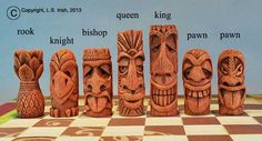 шахматы Tiki Chess Set, Beginner's Carving Project Whittling Patterns, Whittling Projects, Whittling Wood, Wood Carving Patterns, Carving Designs, Carving Wood, Chess Set Unique, Tiki Totem, Tiki Art