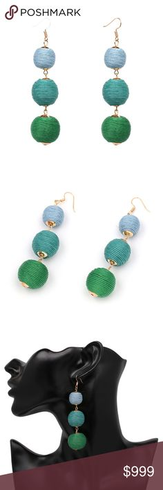 Blue & Green Ombré Bon Bon Ball Crispin Earrings Brand new in original packaging.  The 60's are back with these trendy retro bon bon triple ball drop earrings.  Blue & green ombré threaded spheres increase in size, dangling long enough to make the perfect oversized statement! Length:9.5cm. Lightweight gold color accents & hook backing.  Multiple colors available in separate listings!  All sales are final, please ask all questions prior to purchasing! Jewelry Earrings