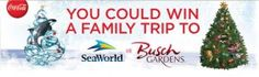 The Family with Coca-Cola and Wegmans Sweepstake gives you a chance to win a trip for 4 to the SeaWorld or Busch Gardens theme park of your choice!