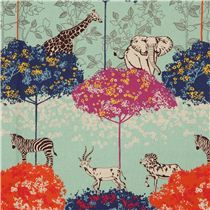 turquoise echino safari animals laminate fabric acacia - Laminates - Fabric