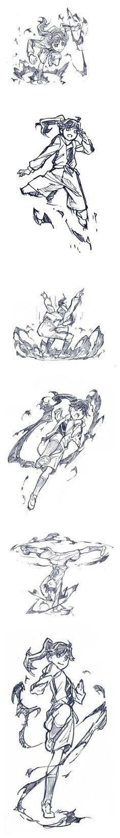 Girl doing action poses: jumping, landing, fighting - drawing reference Body Drawing, Manga Drawing, Figure Drawing, Drawing Reference, Manga Art, Character Poses, Character Design References, Character Concept, Character Art