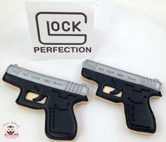 Glock cookies, gun cookies, pistol cookies, shooting cookies, hunting cookies