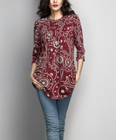 Another great find on #zulily! Burgundy Paisley Notch Neck Pin-Tuck Tunic #zulilyfinds