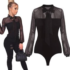 72789096b6 Sexy Party Bodysuit new high quality fashion Transparent Top Sexy Bodycon  Long Sleeve o-neck Jumpsuit Bodysuit women Female 2018