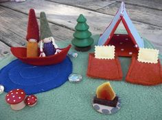 Camping Set with Waldorf Gnomes tent and door LittleRedWhimsy