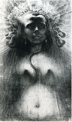 "From ""The Angel of the Odd: Dark Romanticism from Goya to Max Ernst,"" Musée D'Orsay, Paris; Through June 2013 [Jean Delville] Max Ernst, Magritte, Jean Delville, Rose Croix, Art Blanc, World Of Darkness, Goth Art, Art Plastique, Dark Art"