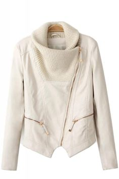 Oblique Zipper Knit Collar Long Sleeve Leather Jacket