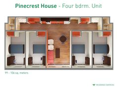 Floorplan with dimensions for four-bedroom units in Pinecrest House. #ualberta