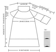 """Pulóver o túnica DROPS tejido con torsadas / trenzas, mangas ¾ y cuello grande, ancho en """"Nepal"""". Talla: XS a XXXL. ~ DROPS Design"""