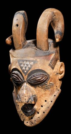 Africa | Mask from the Kete people of DR Congo | Wood and pigment