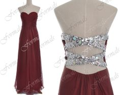 Long Prom Dress Burgundy Gown Strapless Sweetheart Long by Formals, $139.00