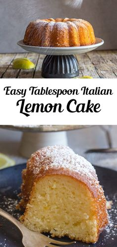 Italian Lemon Cake a delicious moist Cake, and all you need is a tablespoon for measurement. Fast and Easy using pantry staples, and so good. The perfect Breakfast, Snack or Dessert Cake Recipe. This cake is great for a special Morning anytime of the year! Try it for brunch throughout the year, even summer! #cake #lemoncake Dessert Cake Recipes, Homemade Cake Recipes, Lemon Desserts, Lemon Recipes, Fruit Recipes, Cupcake Recipes, Easy Desserts, Sweet Recipes, Cupcake Cakes