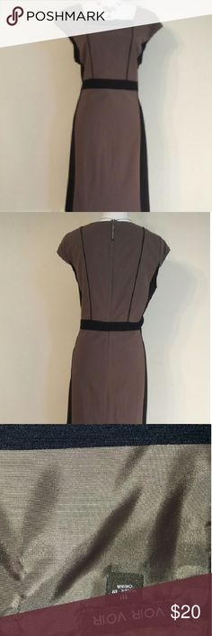 """NWT Voir Voir color block dress. NWT Voir Voir color block dress black and tan. 36-1/2"""" shoulder to hem, bust 19"""", waist 20"""". Only top is lined 100% polyester, shell 88% polyester, 7% rayon, 3% spandex. Dresses Midi"""