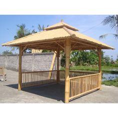 Bamboo gazebo x Gazebo On Deck, Diy Gazebo, Backyard Gazebo, Cheap Pergola, Ponds Backyard, Pergola Kits, Gazebo Ideas, Bamboo Decking, Bamboo House Design
