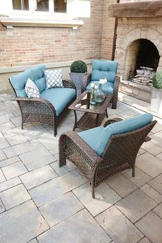 Garden Furniture 4 Less hometrends tuscany 4-piece cushioned wicker conversation set