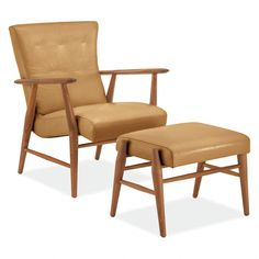 The Danish-inspired Jonas leather chair is an artisan accent chair made from solid wood in the U. Leather Lounge, Leather Ottoman, Leather Chairs, Leather Recliner Chair, Chair And Ottoman, Chair Cushions, Modern Room, Modern Chairs, Modern Living