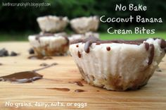 No Bake Coconut Banana Cream Bites (paleo, AIP, vegan option)