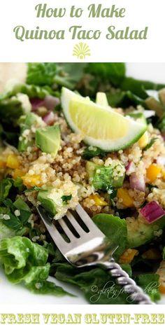 Karina's fresh, tasty quinoa taco salad recipe with avocado and lime- gluten-free, vegan, flavorful and light. #summer #quinoa #glutenfree
