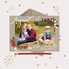 Rejoice Rustic Christmas Cards · Rustic 2 photo Christmas Floral Printable Cards · GwenMarie Designs Photos Courtesy of http://amyephotography.net