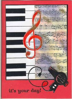 music birthday card-this would look much nicer with cardstock that matched the colors of the Distressed Ink on the sheet music.