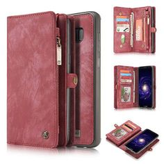 CaseMe Samsung Galaxy S8 Plus Zipper Wallet Detachable 2 in 1 Retro Flannelette Leather Folio Case Red
