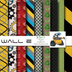 Disney Wall E Inspired 8.5x11 A4 Digital Scrapbook Paper Backgrounds -INSTANT DOWNLOAD - PU and S4H on Etsy, $3.99