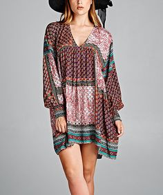 Another great find on #zulily! Burgundy & Green Pattern Block Tunic - Plus #zulilyfinds