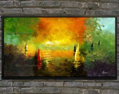Sailboats In Sunrise  Palette Knife Sailing Ship Oil Painting