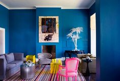 blue, yellow and pink