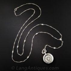 Platinum and Diamond Art Deco Pendant Watch Necklace by Meylan  - Vintage Ladies Watches - Vintage Jewelry