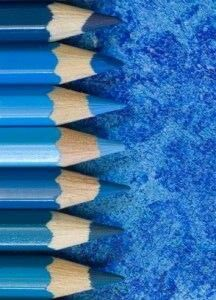 Blue shades - colored pencils
