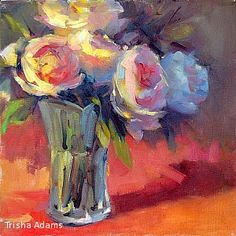 """Peonies by Trisha Adams Oil ~ 12"""" x 12"""""""