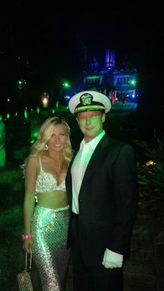 Mermaid and yacht captain couples Halloween costume