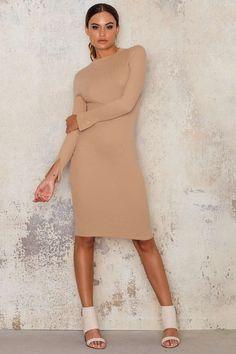 Rib Jersey Split Sleeve Dress