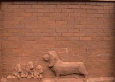 Brick Sculpture by Rod Harris. Bassett Hound Family