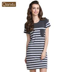 Qianxiu Summer Sleep Lounge Modal Classic Stripes Women Sleepshirts Plus  Size Women Nightgown Half Sleeves baf37989d