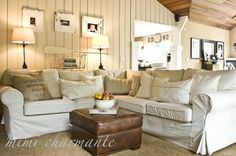 Slouchy sectional with leather ottoman