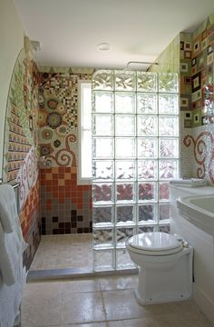 Bathroom Ideas Mosaic details: photo features castle rock 10 x 14 wall tile with glass