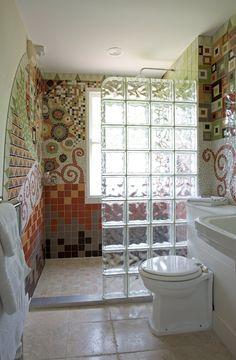 Bathroom Designs Mosaic Tiles details: photo features castle rock 10 x 14 wall tile with glass