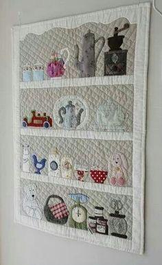 "I like the ""shelf"" framing on this quilt - i've been thinking of doing something…"