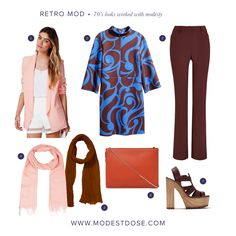 We are going all out 70's with this #ootd!  1.Blazer - MissGuided  2.Tunic - H&M  3.Flares - Next  4.Pink Scarf - Yoox.com  5.Brown Scarf - Amazon.co.uk  6. Handbag - House of Fraser  7.Sandals - Zara