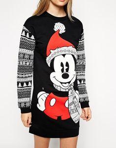 Enlarge ASOS Jumper Dress in Christmas Mickey Mouse Fairisle Print